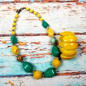 Necklace bracelet set green / yellow 2 pc